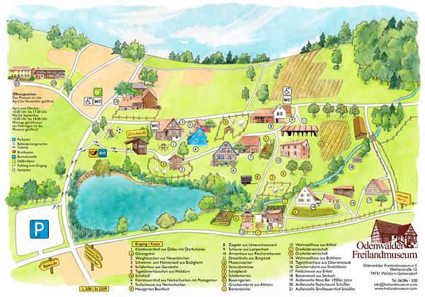 Grafikdesign und Illustration Plan Freilandmuseum © Rita Stern Miltenberg