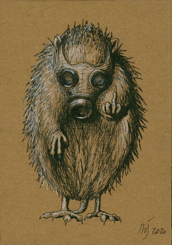 Igelrebellion Illustration auf braunem Papier © Rita Stern Miltenberg