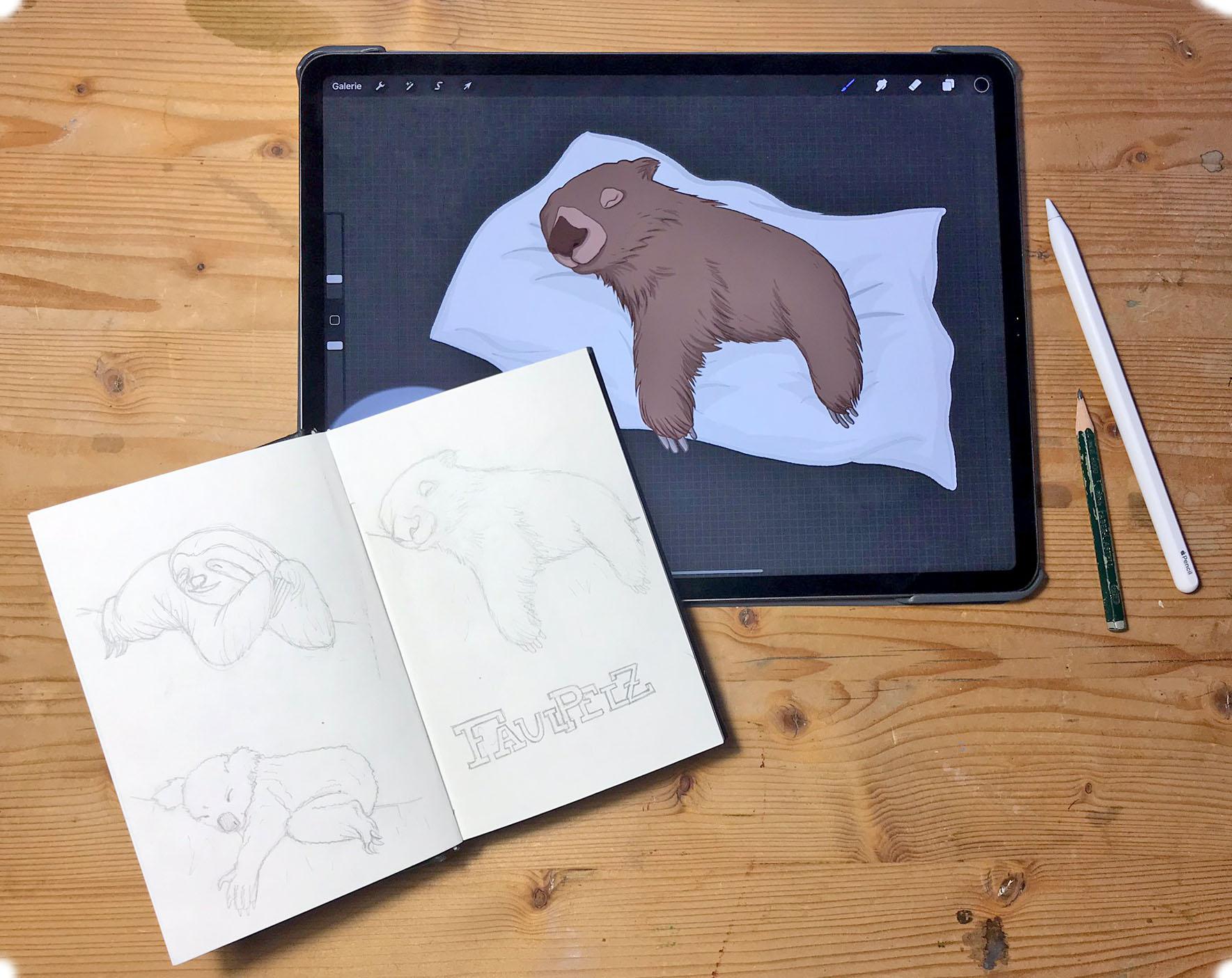 Von der Skizze zur digitalen Illustration / IPad Pro und Procreate © Rita Stern Miltenberg