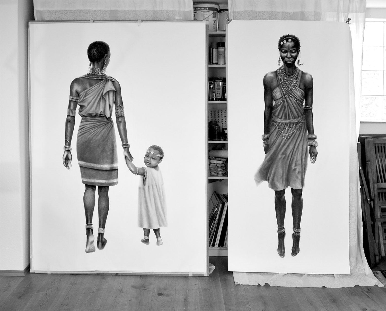 Tanz der Massai und Blick zurück © Rita Stern Miltenberg