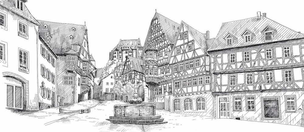 """Analoge und digital erweiterte Illustration für """"Die gute Schokolade"""" der Stadt Miltenberg © Rita Stern Kunst & Illustration Miltenberg"""