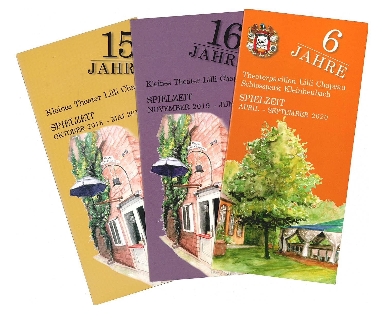 Illustration und Design der Flyer für das Theater Lilli Chapeau © Rita Stern Kunst & Illustration Miltenberg