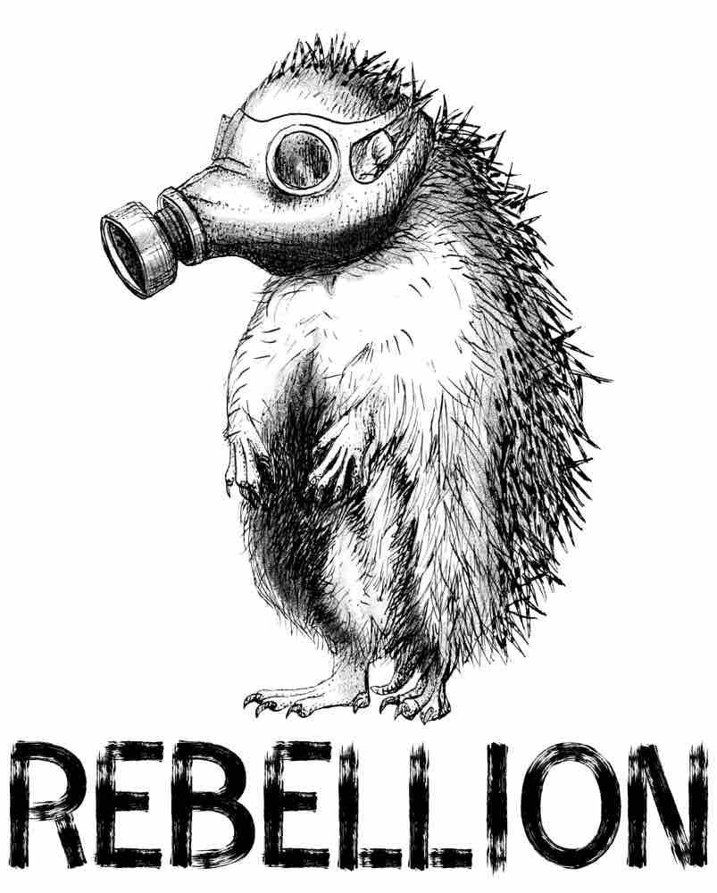 Analoge Illustration digitalisiert / Igel Rebellion