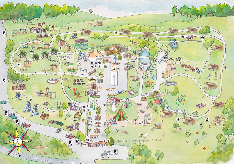 Illustration und Entwicklung der Karte für den Erlebnispark Steinau / Aquarell digitalisiert © Rita Stern Illustration Miltenberg