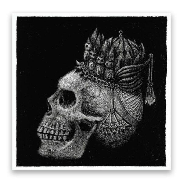 Kohlezeichnung König im Paradies © Rita Stern Miltenberg