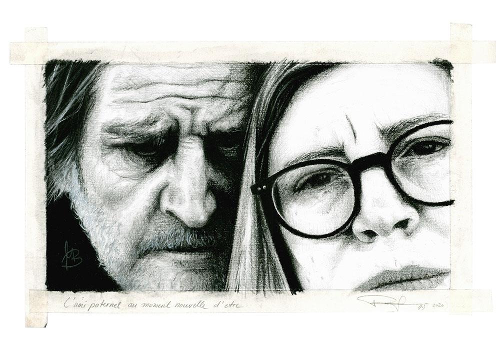 "Portraitzeichnung in Kohle 2020 ""L'ami paternel"" © Rita Stern Miltenberg"