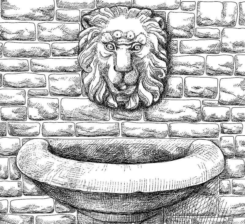 Digitale Illustration für ein Kartenspiel / Brunnen am Zwillingsbogen Miltenberg © Rita Stern Kunst & Illustration Miltenberg