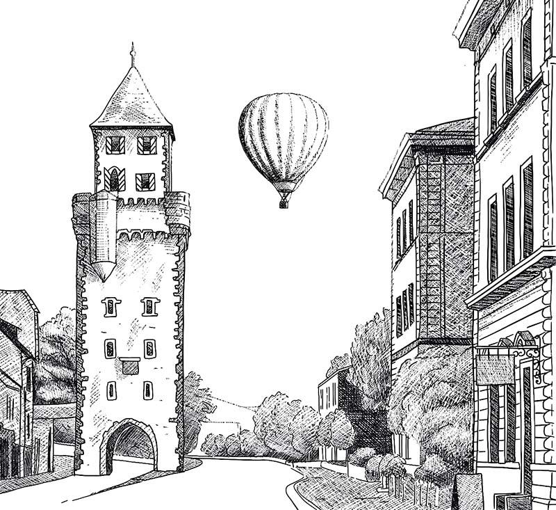 Digitale Illustration für ein Kartenspiel / Mainzer Tor Miltenberg © Rita Stern Kunst & Illustration Miltenberg