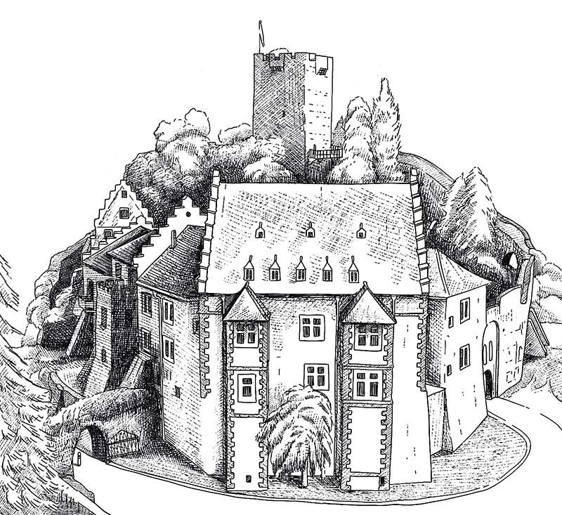 Digitale Illustration für ein Kartenspiel / Mildenburg © Rita Stern Kunst & Illustration Miltenberg