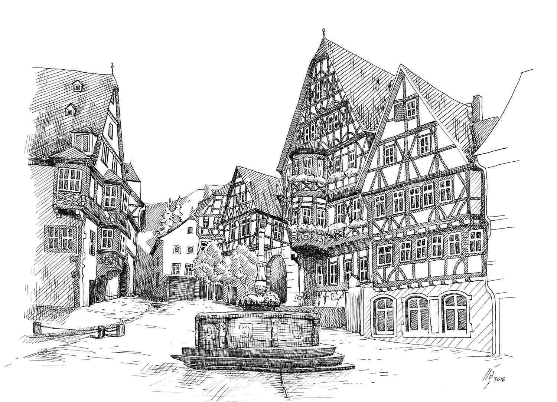 Analoge Illustration / Tusche / Schnatterloch Miltenberg © Rita Stern Miltenberg