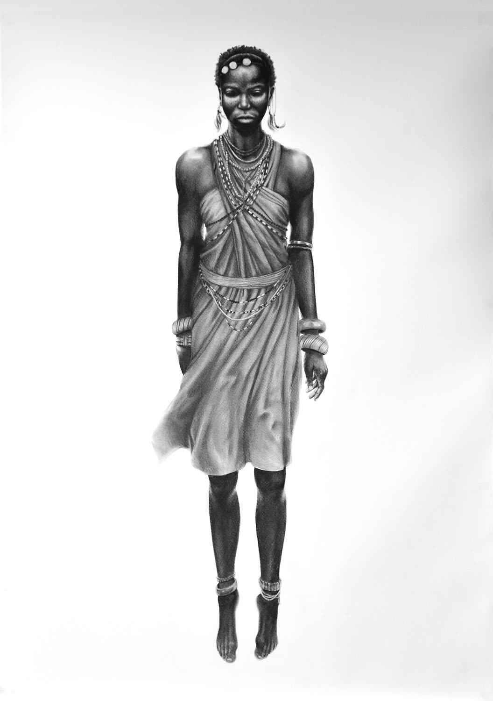 Tanz der Massai Kohle auf Papier 150 x 210 cm © Rita Stern Miltenberg