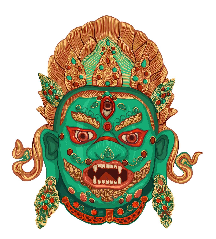 Digitale Illustration / Tibetische Maske 1 © Rita Stern Illustration Miltenberg