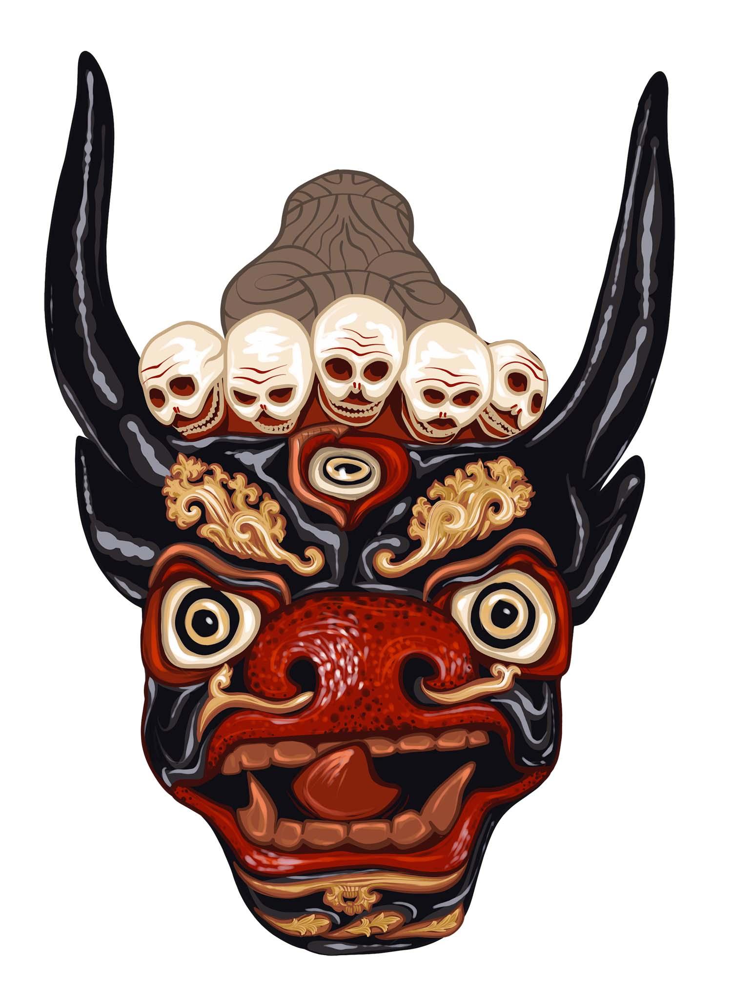 Digitale Illustration / Tibetische Maske 2 © Rita Stern Illustration Miltenberg
