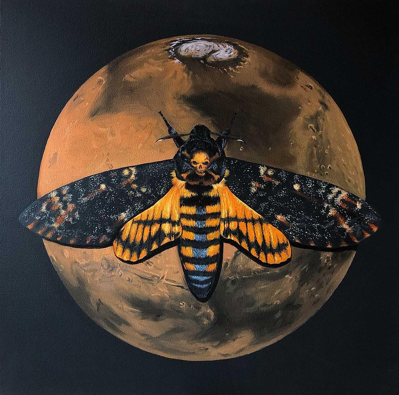 Totenkopfschwärmer und Mars / Öl auf Leinwand 50x50cm © Rita Stern Miltenberg