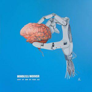 Mindless Worker / Acryl und Öl auf Leinwand 100x100cm © Rita Stern Miltenberg