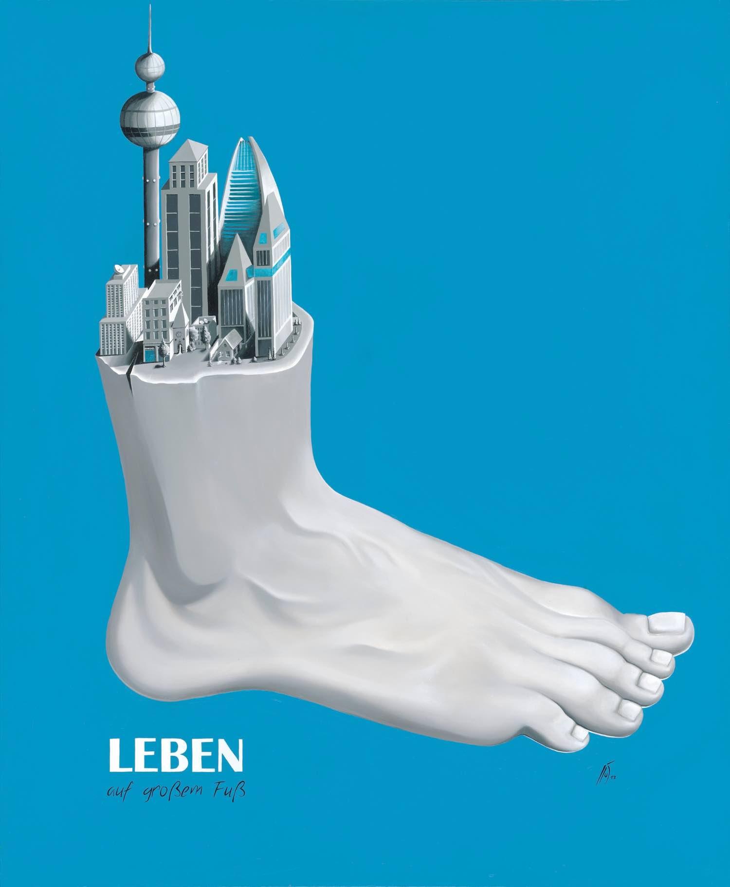 Leben auf großem Fuß / Acryl und Öl auf Leinwand 100x120cm © Rita Stern Miltenberg